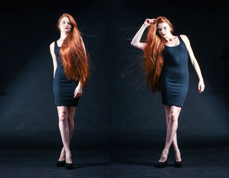 lock of hair: Beauty ginger Girl Portrait. Healthy Long Red Hair. Beautiful Young Woman on black background.