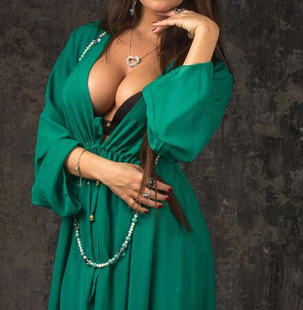 oriental bathrobe: Green bathrobe on Beautiful woman Stock Photo
