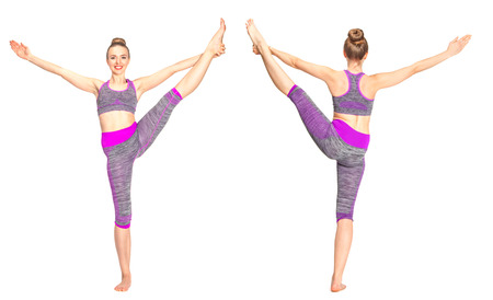 Women who do yoga perform. Yoga allows them to develop flexibility and strengthen muscles. Collage - forvard and back.