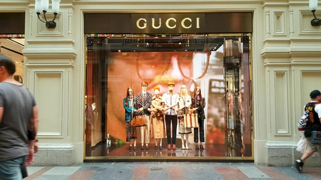 JUN 30, 2018, MOSCOW, RUSSIA Gucci Store Sign in GUM MOSCOW