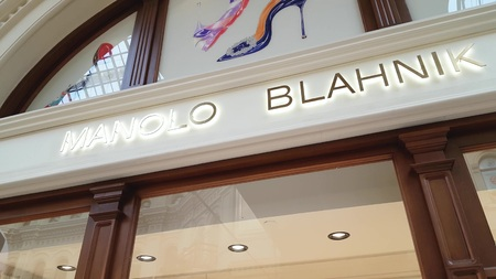 JUN 30, 2018, MOSCOW, RUSSIA Manolo Blahnik Store Sign in GUM MOSCOW Sajtókép