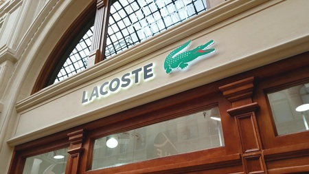 JUN 30, 2018, MOSCOW, RUSSIA Lacoste Store Sign in GUM MOSCOW
