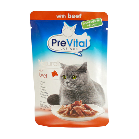 PreVital with beef, pouches of cat food. PreVital is a brand of cat food. JAN 22, 2019 PILOS, GREECE: