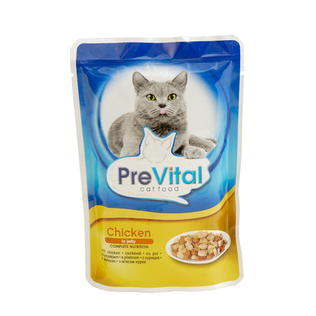 PreVital chicken in jelly, pouches of cat food. PreVital is a brand of cat food. JAN 22, 2019 PILOS, GREECE: