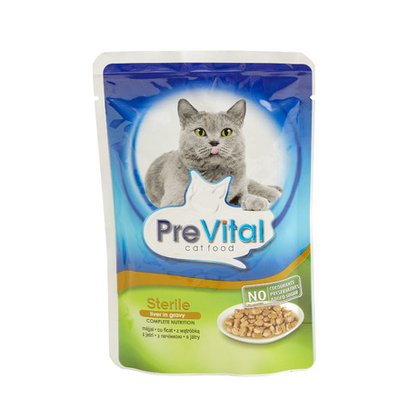 PreVital sterile, pouches of cat food. PreVital is a brand of cat food. JAN 22, 2019 PILOS, GREECE: