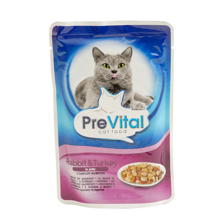 PreVital rabbit and turkey, pouches of cat food. PreVital is a brand of cat food. JAN 22, 2019 PILOS, GREECE: Editorial