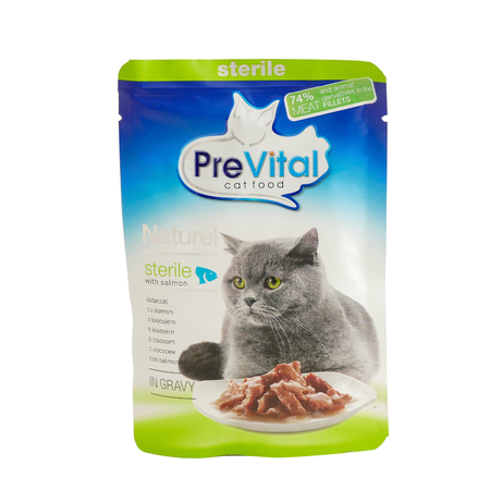 PreVital with salmon, pouches of cat food. PreVital is a brand of cat food. JAN 22, 2019 PILOS, GREECE: Editorial