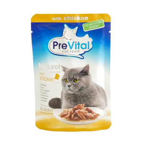 PreVital chicken, pouches of cat food. PreVital is a brand of cat food. JAN 22, 2019 PILOS, GREECE: Editorial