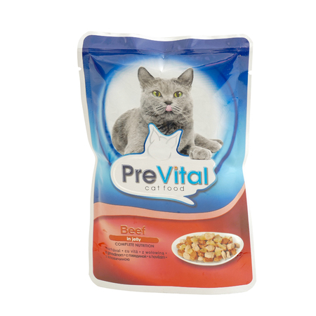 PreVital beef in jelly, pouches of cat food. PreVital is a brand of cat food. JAN 22, 2019 PILOS, GREECE: Editorial