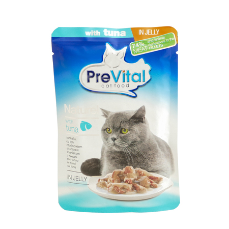 PreVital with tuna, pouches of cat food. PreVital is a brand of cat food. JAN 22, 2019 PILOS, GREECE: Editorial