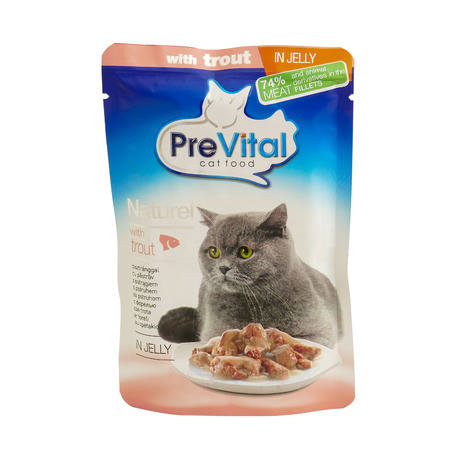 PreVital with trout, pouches of cat food. PreVital is a brand of cat food. JAN 22, 2019 PILOS, GREECE: Editorial