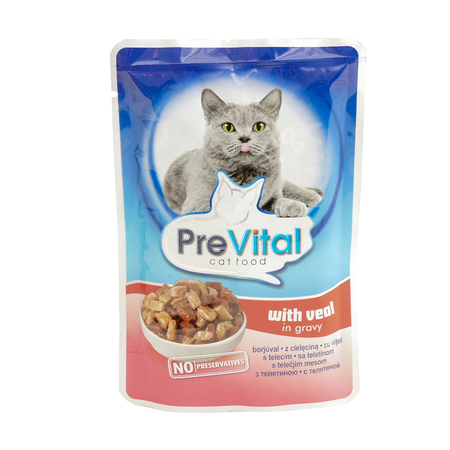 PreVital with veal, pouches of cat food. PreVital is a brand of cat food. JAN 22, 2019 PILOS, GREECE: