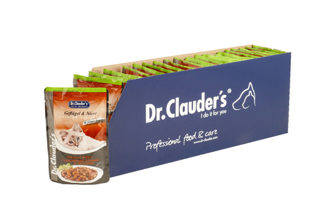 Dr.Clauder with poultry and kidney, pouches of cat food. Dr.Clauder is a brand of cat food. JAN 22, 2019 PILOS, GREECE: