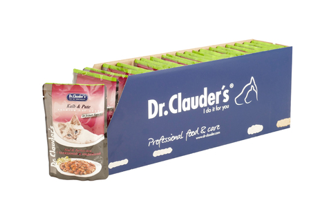 Dr.Clauder with veal and turkey, pouches of cat food. Dr.Clauder is a brand of cat food. JAN 22, 2019 PILOS, GREECE: