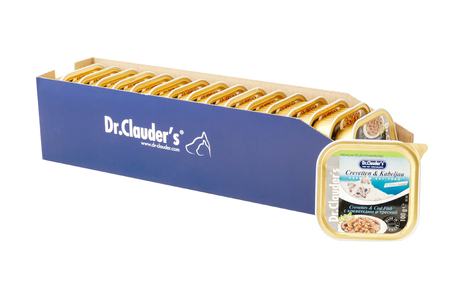 Dr.Clauder with crevette and codfish, pouches of cat food. Dr.Clauder is a brand of cat food. JAN 22, 2019 PILOS, GREECE: