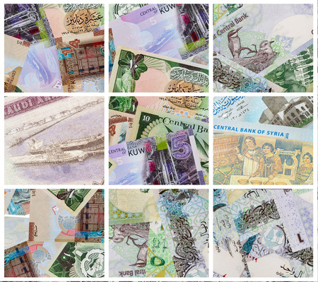Arabian Banknotes abstract background, collage