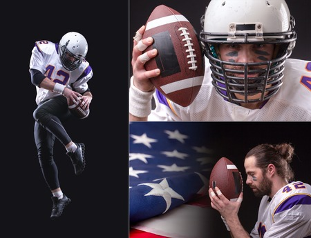 American footboller 3 images collage