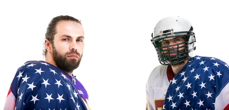 Bearded American football player with national flag, close up portrait collage. Stock Photo
