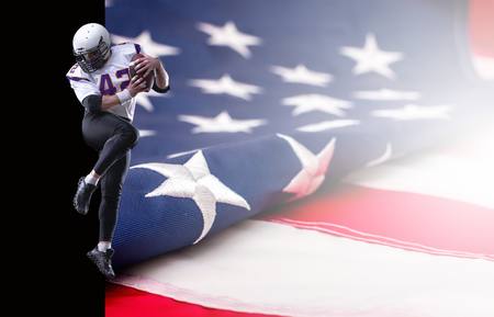 Bearded American football player in blue uniform, close up portrait. Collage with US flag and copy space. Stock Photo