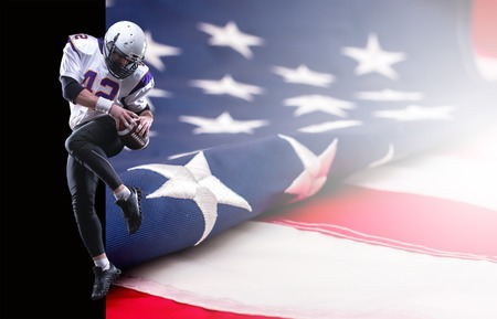 North American football player in professional uniform jump up. Collage with US flag and copy space.