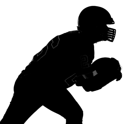 Bearded American football player in white uniform, in action. Monochrome silhouette