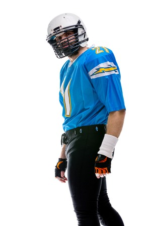Sad Bearded American footballer in blue uniform isolated on white
