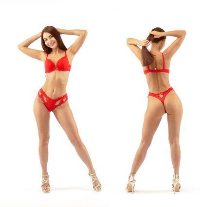 Lingerie rossa sul corpo di una bella donna. Isolato su bianco.