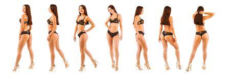 Donna calda che posa nel corpo nero della biancheria. Immagine isolata. Collage
