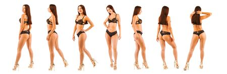 Hot Woman posing in black lingerie body. Isolated image. Collage Stok Fotoğraf
