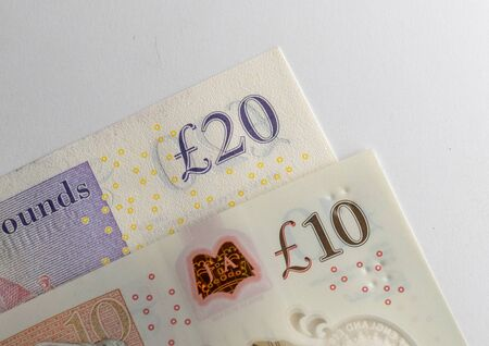 UK Pound Banknotes elements Close up Archivio Fotografico