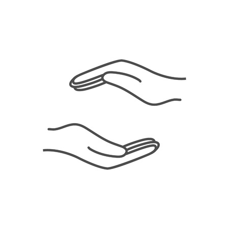Help hand icon. Vector illustration, flat design.