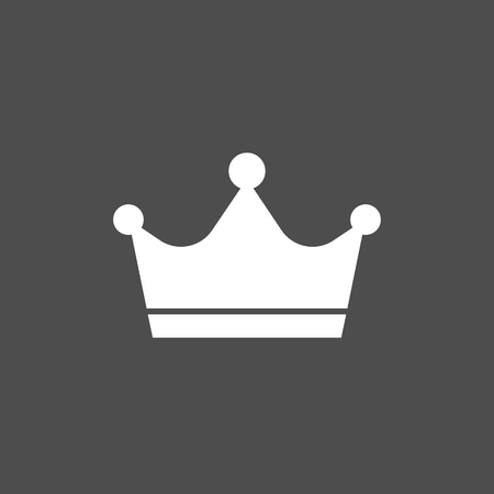 Crown icon. Grey on white background. Vector illustration, flat