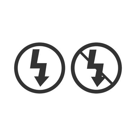 Lightning symbol. Photo flash sign. On off flash. Vector illustration. Flat design