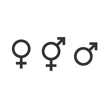 Gender icon. Female, male and transgender symbol. Vector illustration, flat design