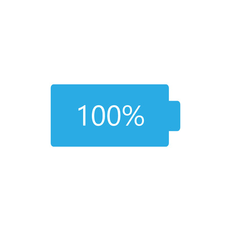 Battery load icon. Battery charge. Vector illustration, flat design. Stock Illustratie