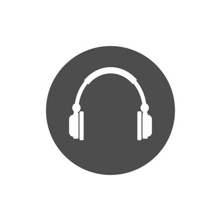Audio headphones icon. Vector illustration flat