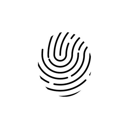 Identification symbol. Fingerprint icon. Vector illustrations. Flat design.