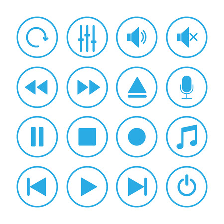 Media player icon set. Vector illustration, flat design. Imagens