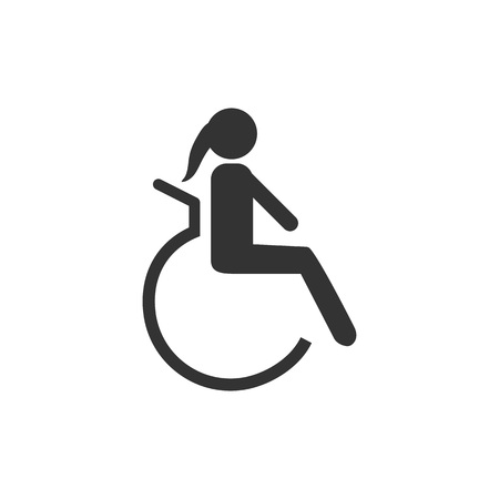 Disabled icon. Woman. Vector illustration, flat design.