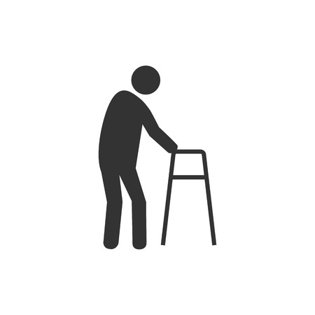 Old man, walker icon. Vector illustration flat