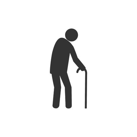 Old man, walker icon. Vector illustration, flat design.
