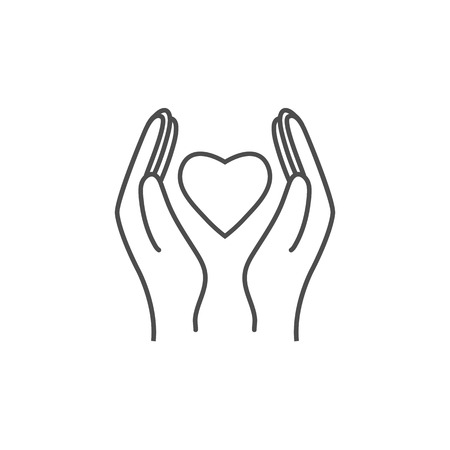 Hand Giving Love Symbol. Hand holding heart shape, vector Vectores