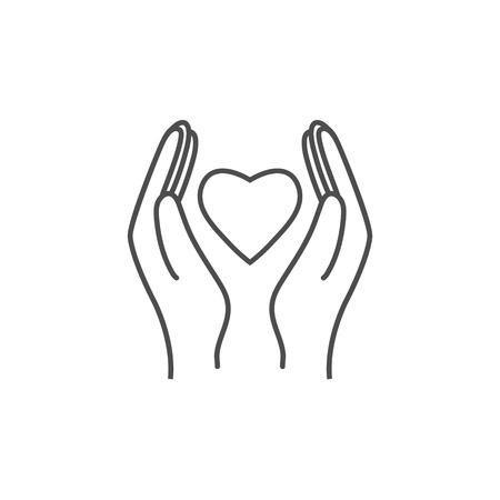 Hand Giving Love Symbol. Hand holding heart shape, vector Illustration