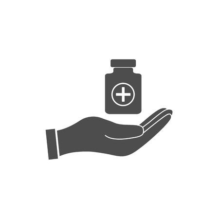 Pills in hand icon. Vector illustration, flat design. Stock Illustratie
