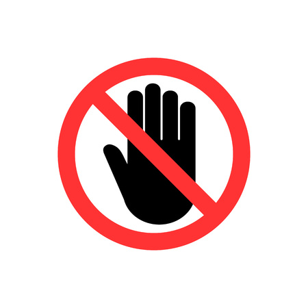 Hand icon. No entry sign. Vector illustration, flat design