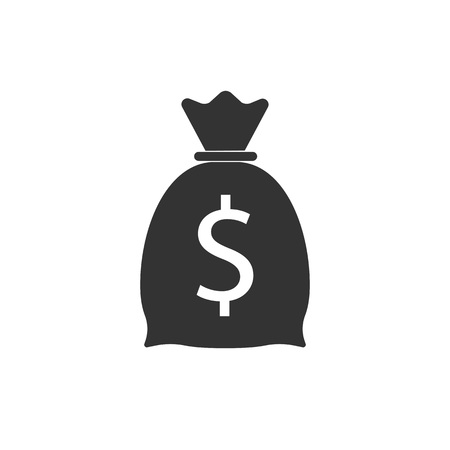 Money bag icon. Vector illustration flat