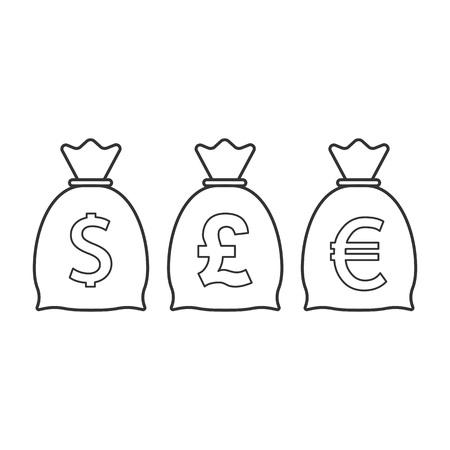 Money bag icon. Dollar, euro, pound icon Vector illustration flat