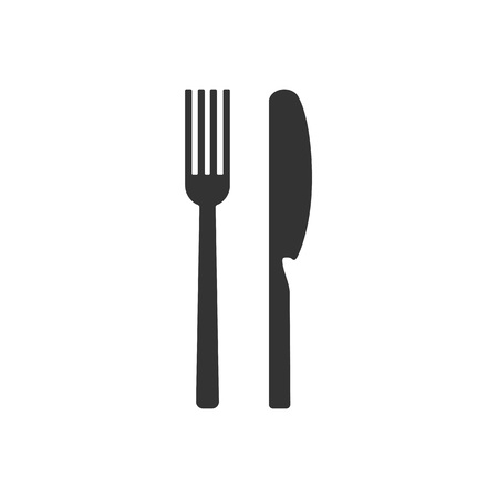 Cultery icon, knife fork spoon sign. Flat design, vector 写真素材 - 111906727