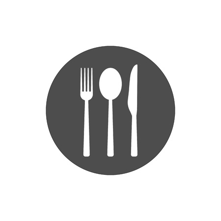 Cultery icon, knife fork spoon sign. Flat design, vector