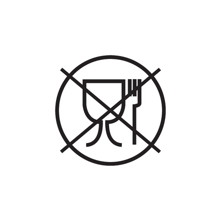 Food safe symbol. Not suitable for food icon. No food grade symbol. Vector